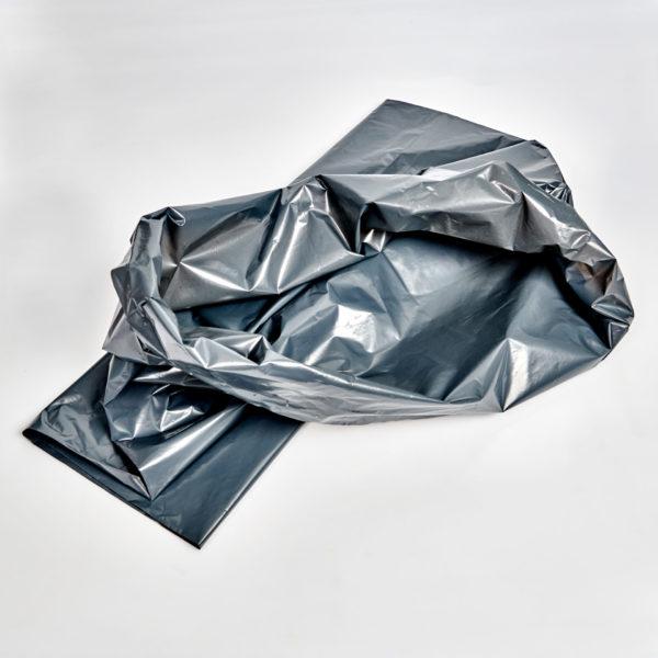 Müllsack, grau, 35 Ltr. , 110 Ltr. und 120 Ltr. liend gefaltet und aufgeschlagen