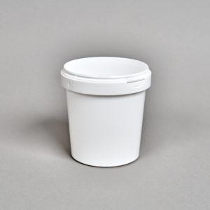 weißer Kunststoffbecher ohne Deckel