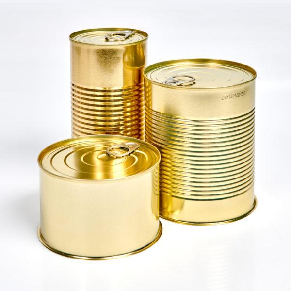 Konservendosen mit Aufreißdeckel, ohne Boden, innen weiß lackiert, außen gold