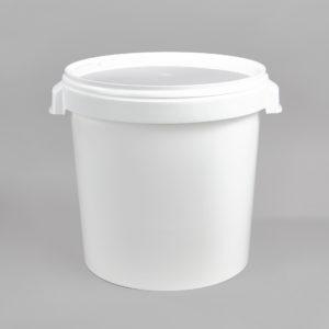 Kunststoff-Hobbock, weiß, mit zwei Muschelgriffen, incl. Deckel weiß