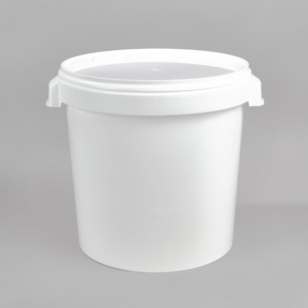 Kunststoff-Hobbock, weiß, mit zwei Muschelgriffen, incl. Deckel