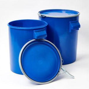 blauer Kunsstoffhobbock mit Deckel und Metallspannring zum Verschließen, Füllvolumen 21,5 Liter und 30 Liter