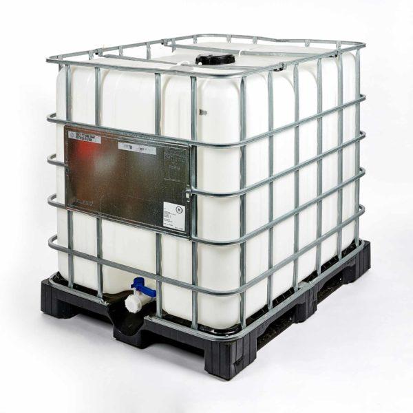 1000 Liter Kunststoff IBC Container auf schwarzer Kunststoffpalette, mit Metallgitter und naturfarbener Innenblase, Einfüllöffnung 150 mm und 2-Zoll Auslaufarmatur