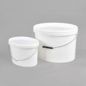 Kunststoff-Ovaleimer, weiß, mit Metall-Tragebügel, incl. weißem Deckel, 3 Liter, 5 Liter, 11 Liter, 18 Liter
