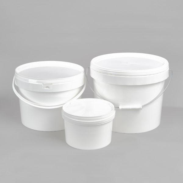 Kunststoff-Rundeimer, weiß, mit Tragebügel aus Kunststoff oder Metall, incl. weißem Deckel, Füllvolumen 3 Liter, 5 Liter, 10 Liter, 16,5 Liter, 20 Liter