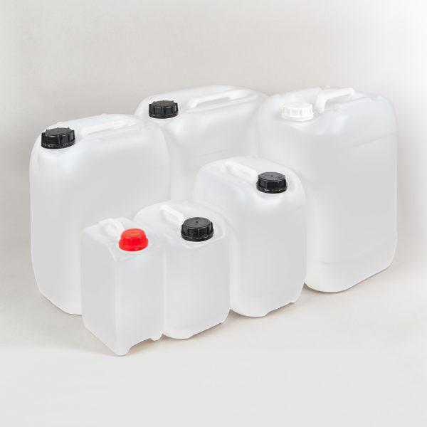 Kunststoffkanister-mit-UN-Gefahrgutzulassung, incl. Verschraubung, Füllvolumen 3 bis 30 Ltr.