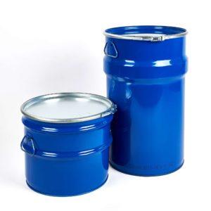 Stahlblech-Hobbock mit Deckel und Spannring und seitlichen Fallgriffen, blau RAL 5010, Füllvolumen 30 Liter und 60 Liter