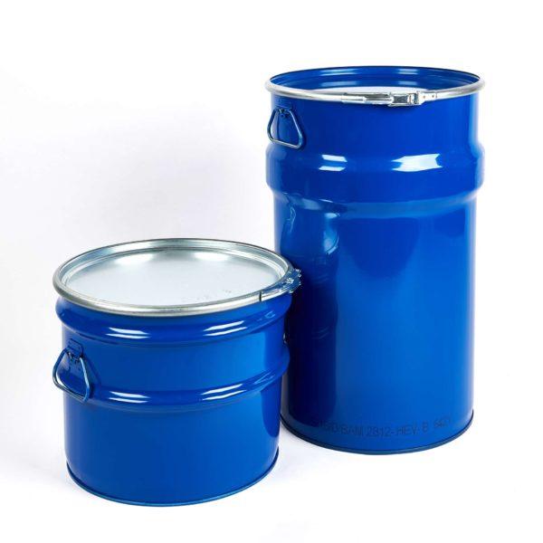 Stahlblech-Hobbock mit Deckel und Spannring, blau, 30 Liter und 60 Liter