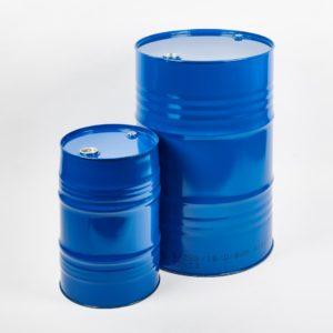 """Stahlblech-Spundfass, blau RAL 5010, 60 Liter und 216 Liter mit 3/4 Zoll und """" Zoll Verschraubungen im Oberboden"""