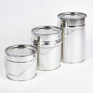 Weißblech-Eimer mit Tragebügel, Deckel und Spannring, 5 Liter, 10 Liter, 12 Liter, innen und außen silber blank