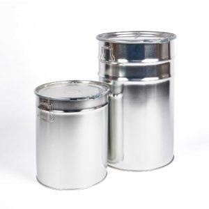 Weißblech-Hobbock mit seitlichen Fasllgriffen, Deckel und Metallspannring, 30 Liter und 60 Liter, silber blank innen und außen