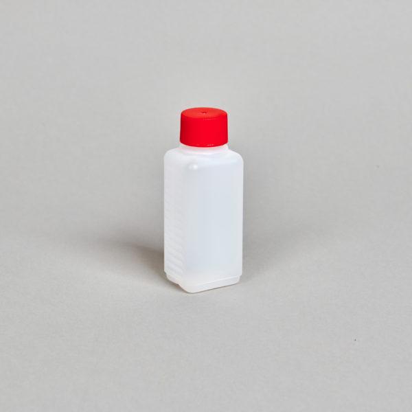 Kunststoff-Flasche, rechteckig, 100 ml, incl. Verschraubung