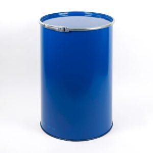 216,5 Ltr. Stahlblech-Deckelfass, blau RAL 5010, mit Deckel und Metall-Spannring verschlossen