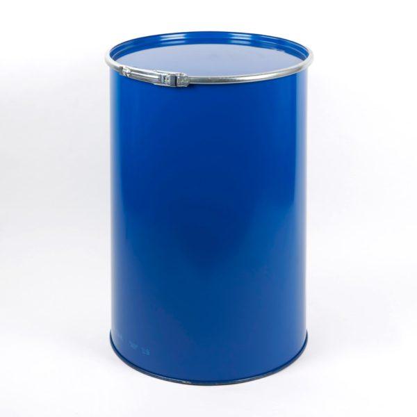 216,5 Ltr. Stahlblech-Deckelfass, blau, mit Deckel und Spannring