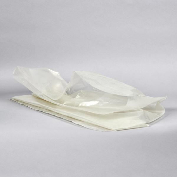 Kunststoff-Sack, transparent, 110 Ltr. und 120 Ltr. , liegend gefaltet und aufgeschlagen